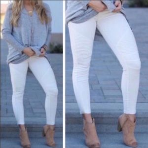 Pants - White Moto Leggings SALE
